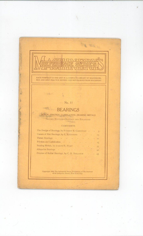 Machinery's Reference Series Number 11 Bearings Vintage