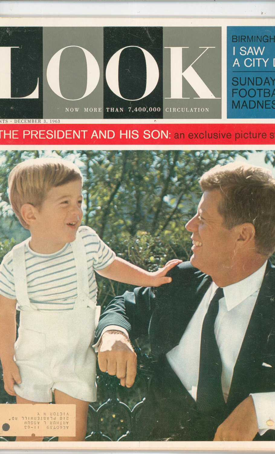 Look Magazine The President And His Son Kennedy Back Issue December 3 1963