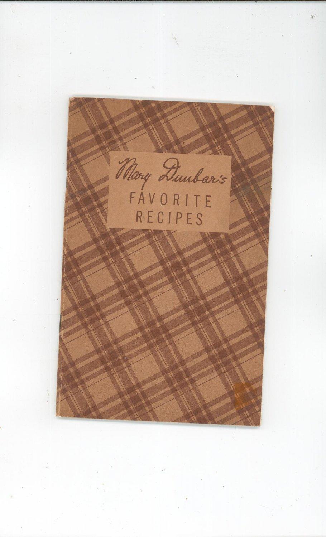Mary Duubar's Favorite Recipes Cookbook Jewel Tea Company