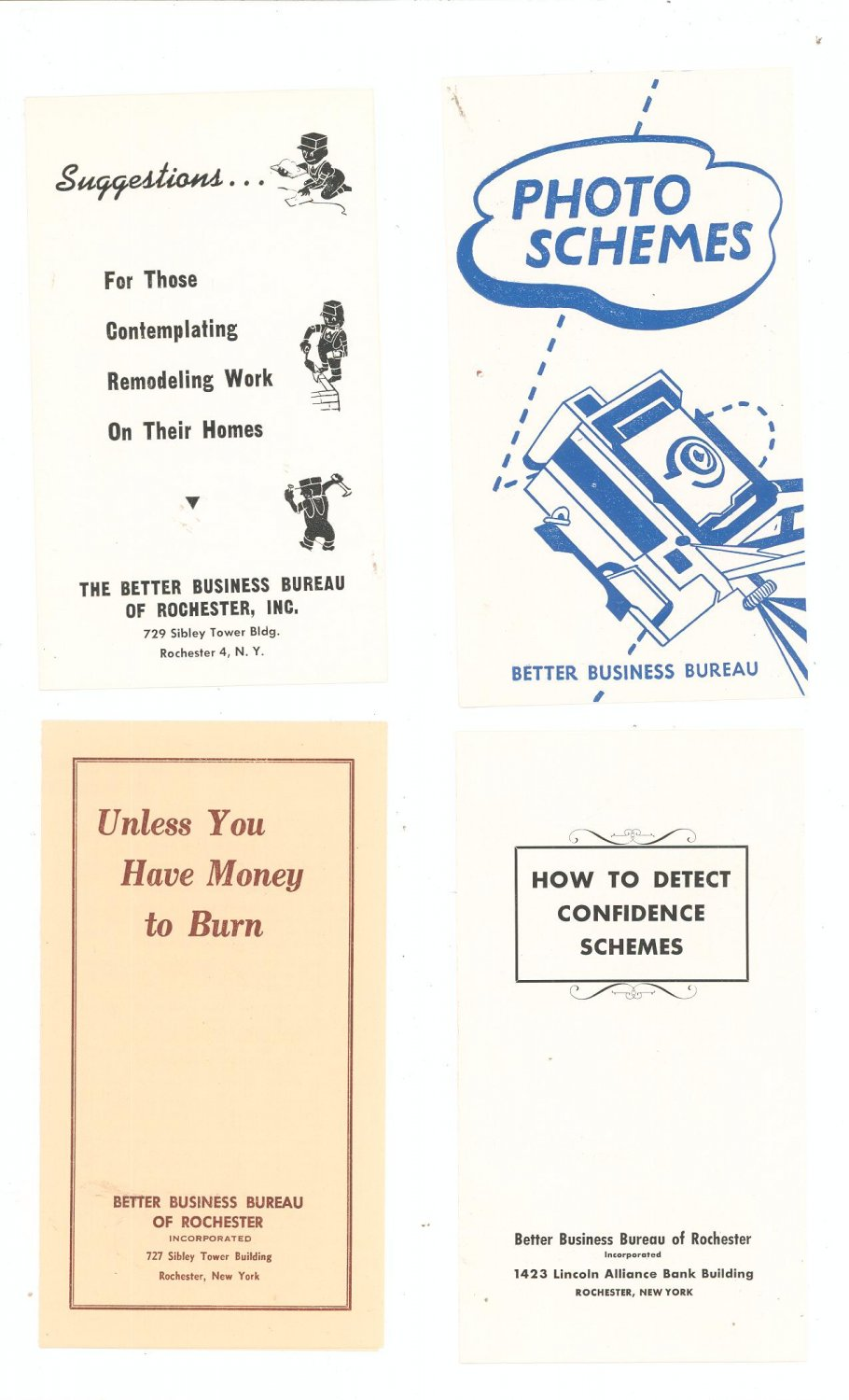 Vintage Lot Of 4 Better Business Bureau Pamphlets
