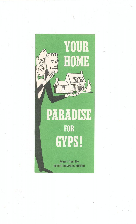 Vintage Better Business Bureau Your Home Paradise For Gyps Booklet 1954