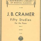 Schirmer's Library Musical Classics J. B. Cramer Book 1 Volume 828 Vintage Piano