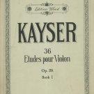 Kayser Etudes For Violin Op. 20 Book 1  Vintage Music Edition Wood Number 212