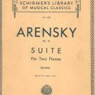 Arensky Op. 15 Suite For Two Pianos Schirmer's Library Classics Volume 1300 Vintage