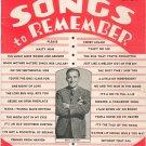 Songs To Remember Lyric Magazine Vintage September 1939