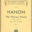 Vintage Schirmer's Library Vol. 1071 C. L. Hanon The Virtuoso Pianist Piano Book 1