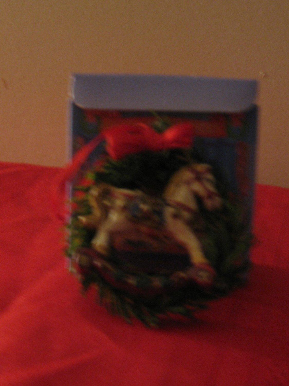 Russ Nostalgic Treasury Rocking Horse Wreath Christmas Ornament With Box