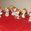 Lot Of 6 Miniature Mice With Santa Cap Ornaments Enesco