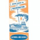 Vintage Quick Guide To Washington Travel Brochure Baltimore & Ohio Railroad 1961