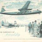 Vintage The Fairchild F-27 Friendship Informational Brochure Turbo-Prop Airplane
