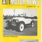 Antique Motor News Magazine December 1976 Vintage Back Issue 1920 Velie Speedster