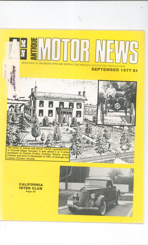 Antique Motor News Magazine September 1977 Vintage Back Issue California Inter Club