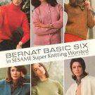 Vintage Bernat Basic Six In Sesame Super Knitting Worsted Booklet Number 137 1966