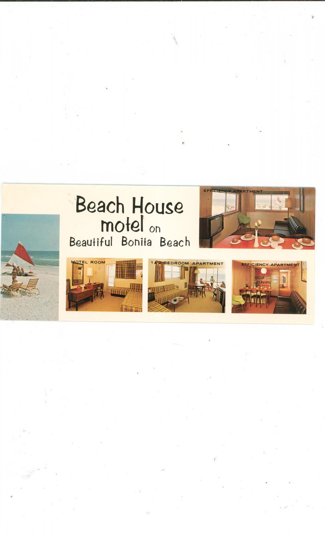 Vintage Beach House Motel Brochure With Price List Bonita Springs Florida