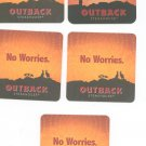 Lot Of 5 Outback Steakhouse No Worries Beer Coaster Mat