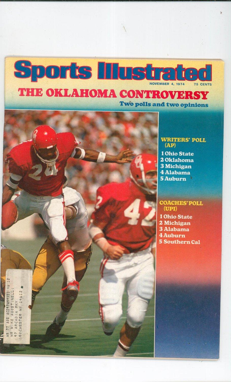 Sports Illustrated Magazine November 4 1974 The Oklahoma Controversy