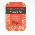 Vintage Mirro Matic Pressure Pan Manual & Cookbook 1946