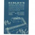 Vintage Sibley's Department Store Unique Food Service Menu / Brochure