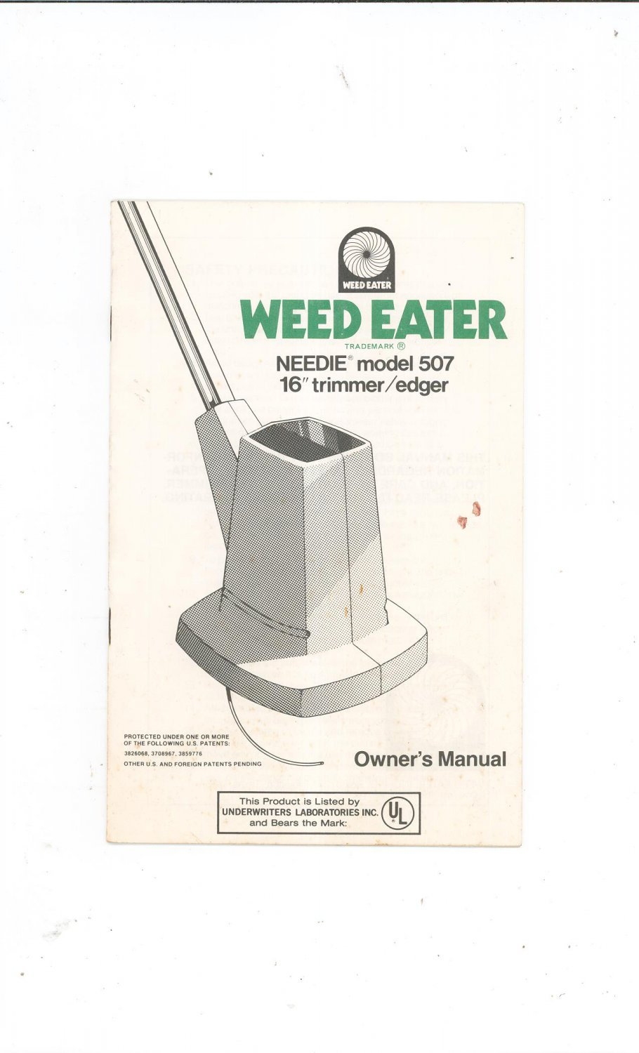 Weed Eater Needie Model 507 Instruction Manual Not Pdf