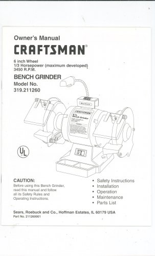 Groovy Craftsman 6 Inch Wheel 1 3 Hp Bench Grinder Model 319 211260 Lamtechconsult Wood Chair Design Ideas Lamtechconsultcom