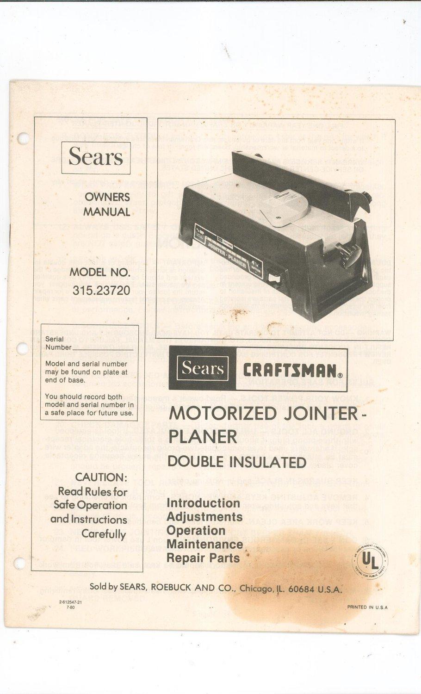 craftsman motorized jointer planer model 315 23720 manual not pdf rh ecrater com craftsman 6 jointer manual old craftsman jointer manual
