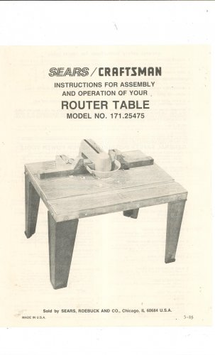 Craftsman Router Table Model 171 25475 Manual Instructions Embly Not Pdf