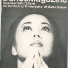 Dance Magazine November 1965 LBJ On The Arts Martha Graham Yuriko Vintage