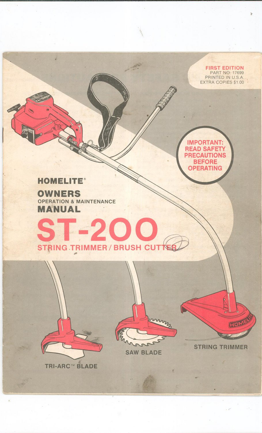 homelite string trimmer brush cutter owners manual st 200 not pdf