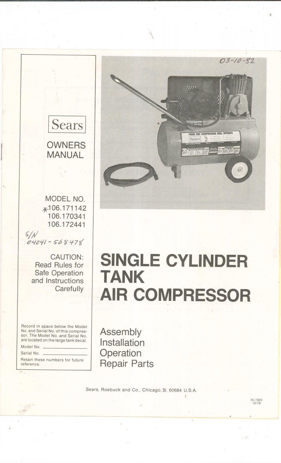 Sears Single Cylinder Tank Air Compressor Owners Manual