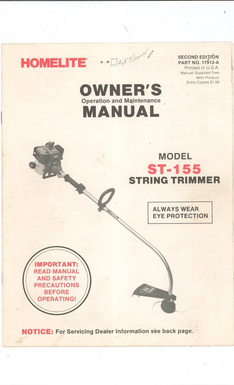 homelite string trimmer owners manual model st 155 not pdf rh ecrater com homelite st-155 trimmer manual homelite st 155 parts list