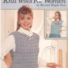 Leisure Arts Knit Vests For Women In Worsted Yarn Leaflet 651