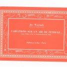 Variations Sur Un Air De Pendule by Jos Wuytack Vintage Music Book