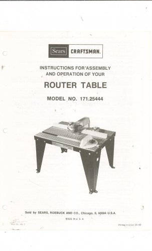 Prime Sears Craftsman Router Table Model 171 25444 Owners Manual Home Interior And Landscaping Oversignezvosmurscom