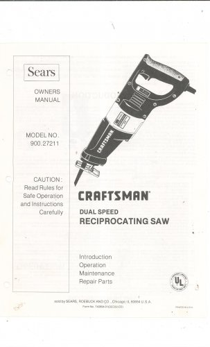 sears craftsman dual speed reciprocating saw model 900 27211 owners rh foundtreasuresden ecrater com Sears Reciprocating Saw craftsman reciprocating saw owners manual