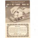 Wen 3 Inch Belt Sander Model 910 Owners Manual
