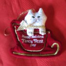 Fancy Feast 1997 Christmas Ornaments Cat In Sleigh With Box
