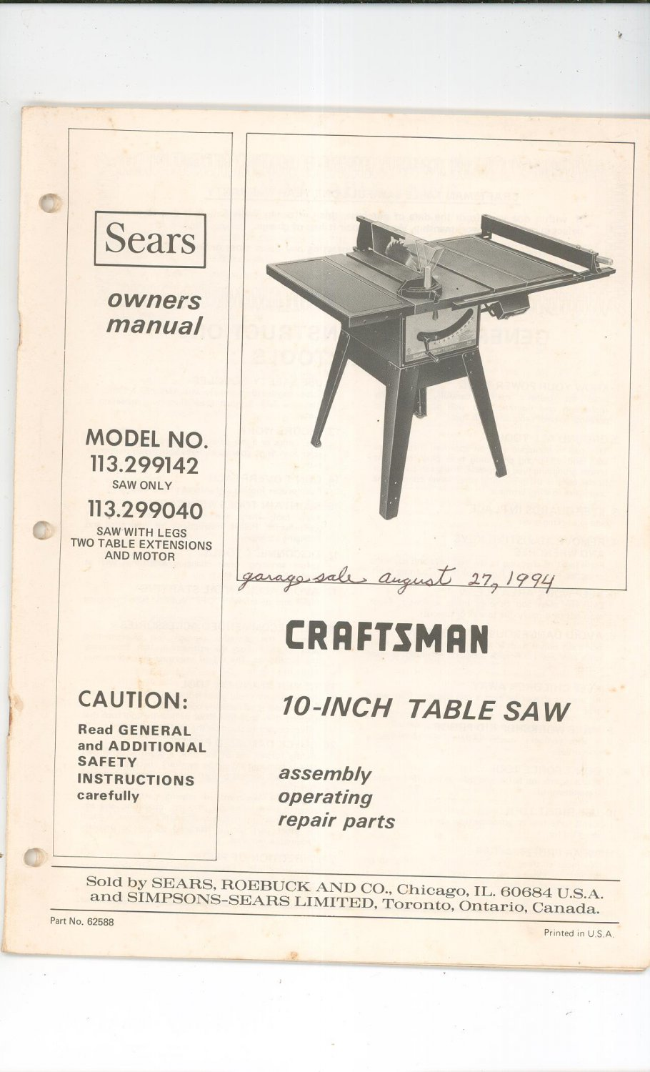 sears craftsman 10 inch table saw owners manual