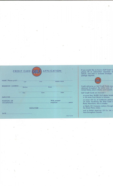 Vintage Gulf Credit Card Application Gasoline