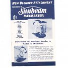 Vintage Sunbeam Mixmaster Model 10 Blender Attachment Manual & Cookbook