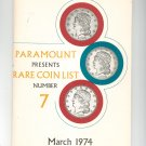 Vintage Paramount Presents Rare Coin List Number 7 March 1974