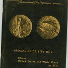 Vintage Paramount International Coin Corporation Presents Special Price List Number 3