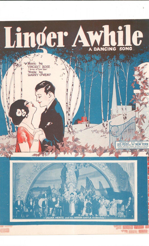 Vintage Linger Awhile A Dancing Song Lillian Hertz On Cover Sheet Music