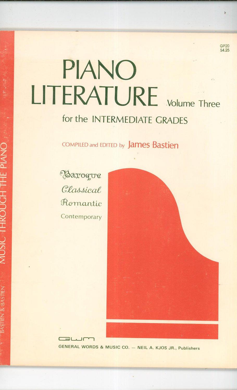 Vintage Piano Literature Volume Three Intermediate Grades James Bastien