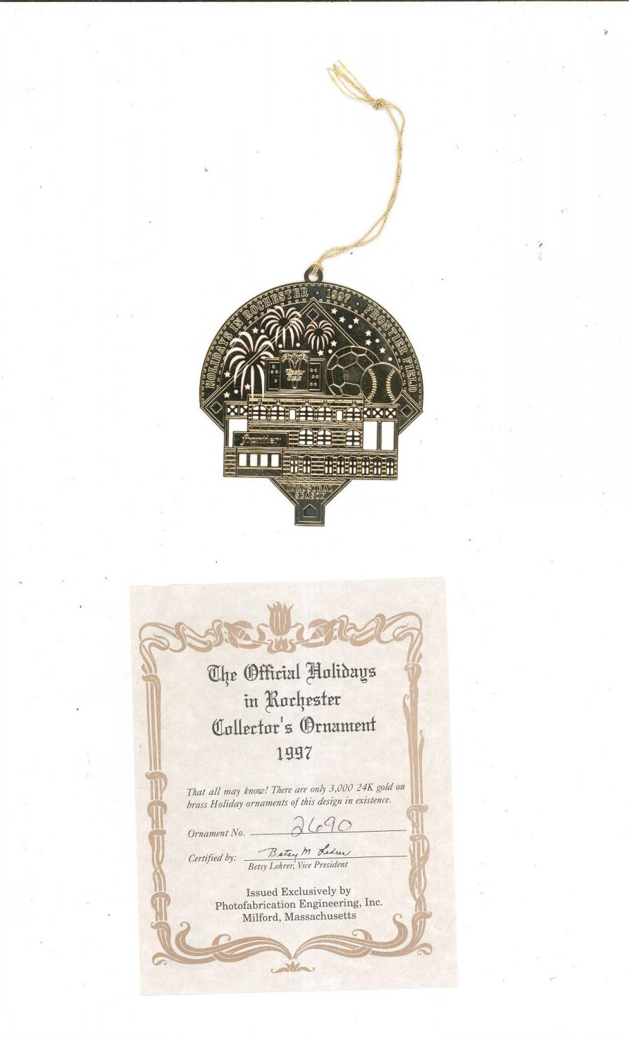 Easter Seals 1997 Collector's Christmas Ornament Frontier Field Inaugural Season