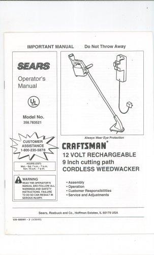 Sears Craftsman 12 Volt Cordless Weedwacker Model 358 783521