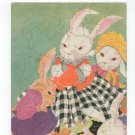 Vintage Rabbit Puzzle Fern Bisel Peat Four Rabbits Dressed In Their Finest