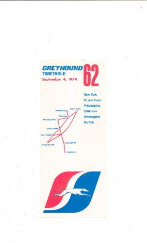 Vintage Greyhound Timetable 62 New York Philadelphia Baltimore Norfolk Washington 1974 Not PDF