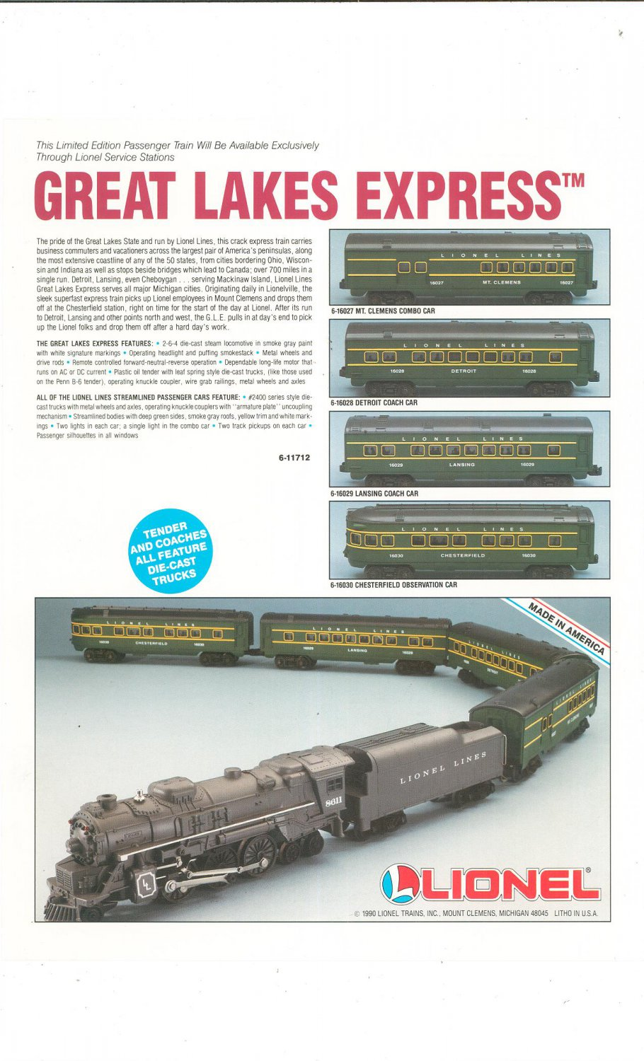 Lionel Great Lakes Express Advertisement 1990 Not PDF Free Shipping Offer