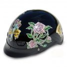 DOT Ladies Motorcycle Vented Black Half Helmet Motorcycle