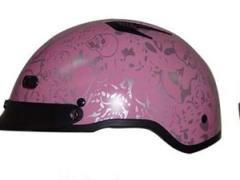 DOT Vented Pink Boneyard Ladies Half Helmet Motorcycle